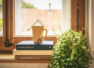 Books and tea on window