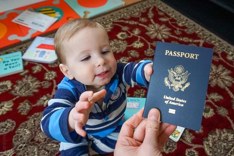 Baby with passport traveling